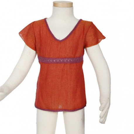 Tee shirt fille ethnique manches courtes orange