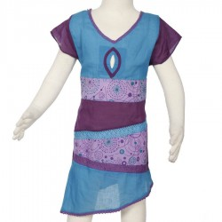 Robe ethnique fille asymetrique turquoise