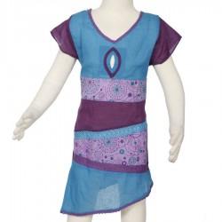 Vestido etnico chica asimetrica turquesa