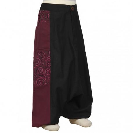 Pantalon afgano chica etnico estampado ciruela y negro   2anos