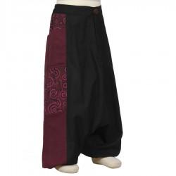 Sarouel fille pantalon prune et noir     4ans