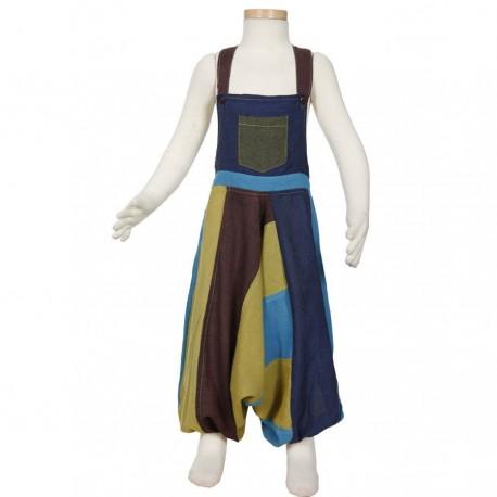 Salopette sarouel patchwork mixte turquoise