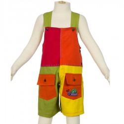 Salopette courte enfant multicolore patchwork
