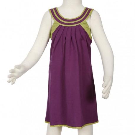 Robe fille colrond evasee coton-lin violette anis