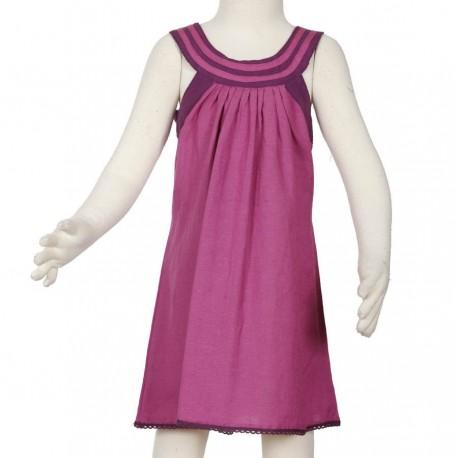 Vestido chica collar rondo ensanchada algodon lino rosa violeta