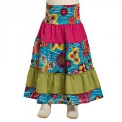 Falda larga chiquilla bohemia turquesa
