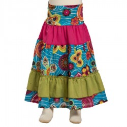 Little girl long skirt bohemian turquoise