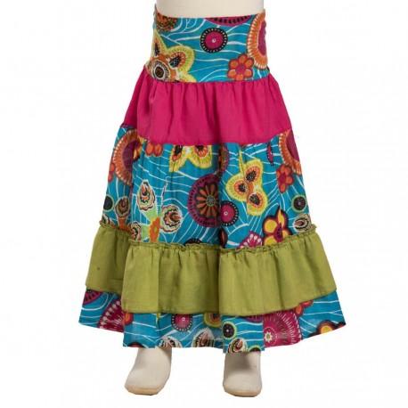 Little girl long skirt bohemian turquoise