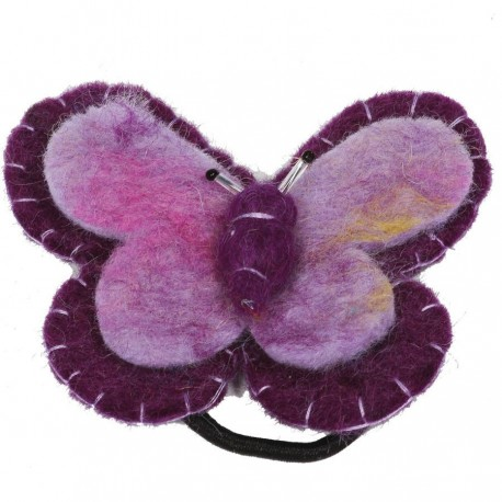 Hair rubber band elastic butterfly purple