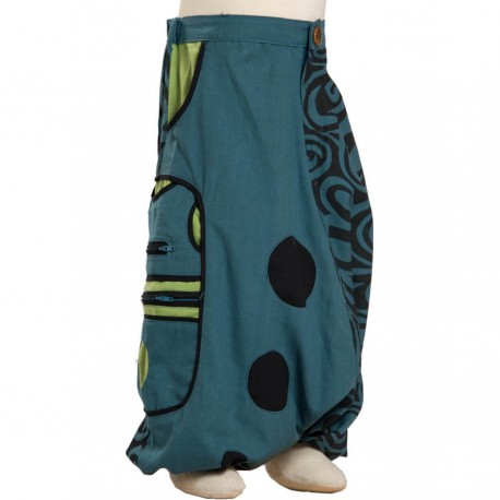 Boy ethnic harem trousers thick printed cotton petrol blue