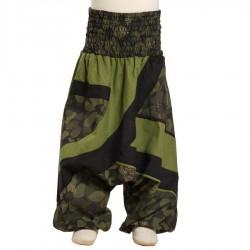 Pantalon afgano pliegues bordados estampado flores verde caqui