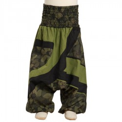 Smocked harem trousers printed flowers cotton army green