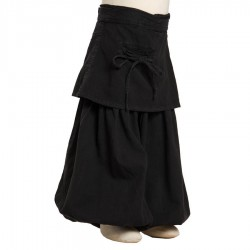 Baggy trousers short skirt black thick cotton