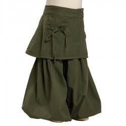 Pantalon bouffant sur jupe coton épais kaki