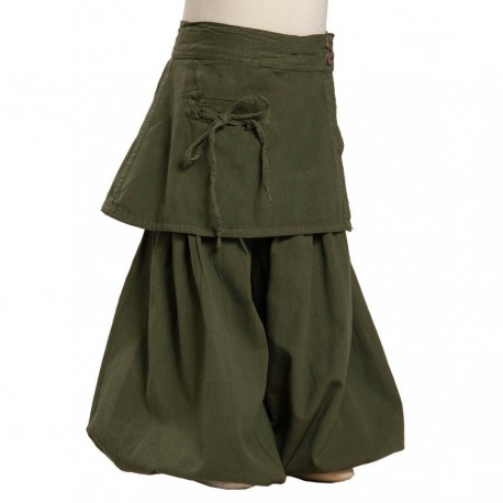 Baggy pants overskirt green army thick cotton