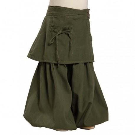 Sarouel pantalon bouffant fille kaki