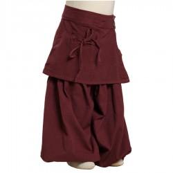 Pantalon sarouel jupe coton épais bordeaux