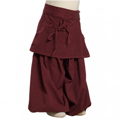 Baggy harem pants skirt dark red thick cotton