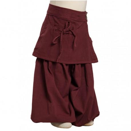 Bombachos pantalon afgano falda algodon espeso rojo violaceo