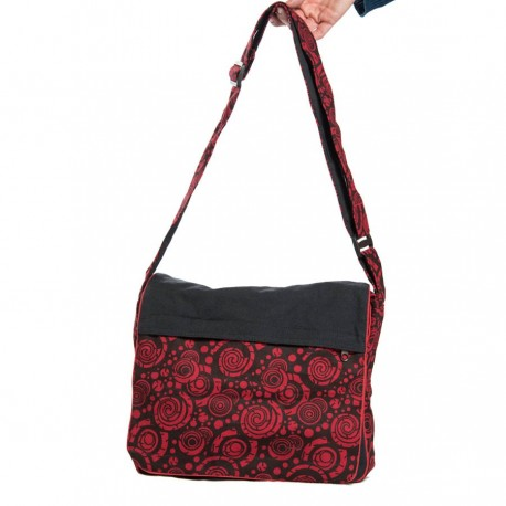 Cotton ethnic bag black and red