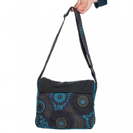 Over the shoulders ethnic bag black, grey, turquoise and purple