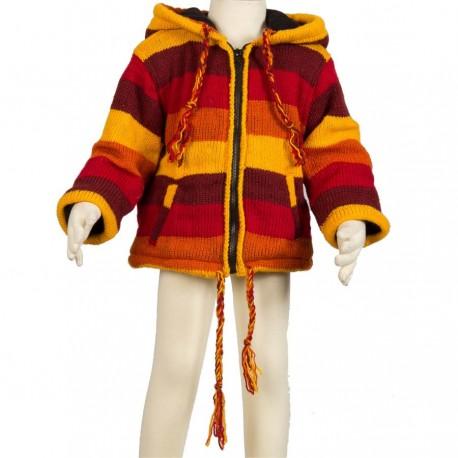 Veste laine enfant orangée
