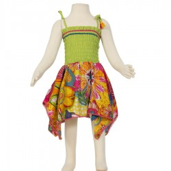Hippy dress Smock indian cotton lemon and orange
