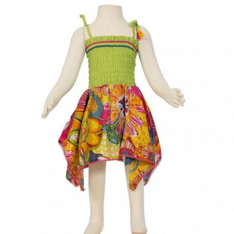 Vestido hippie Smock algodón indio limón y naranja