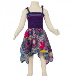 Robe baba cool Smock coton indien violet et turquoise