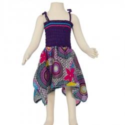 Vestido hippie Smock algodón indio violeta y turquesa