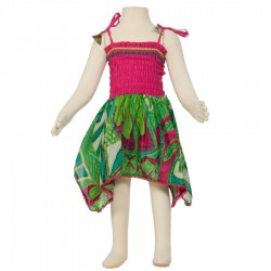 Vestido hippie Smock algodón indio rosa y verde