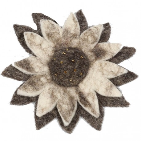 Big brooch flower felt woman kid sunflower grey