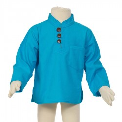 Hippy long sleeves shirt Maocollar plain turquoise