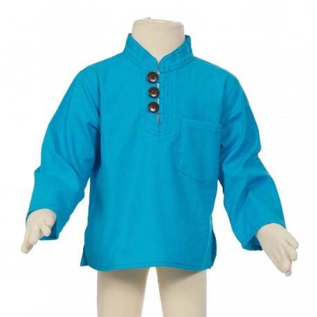 Hippy long sleeves shirt Maocollar plain turquoise