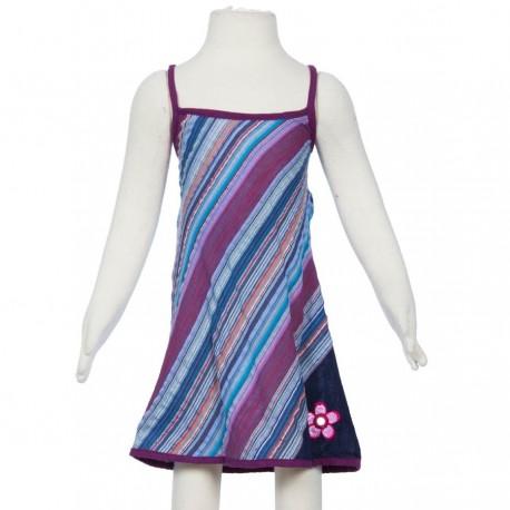 Hippy stripe dress embroidered flower blue