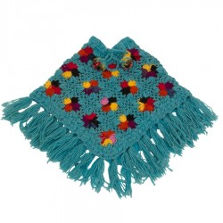 Girl poncho wool crochet turquoise 3-4years