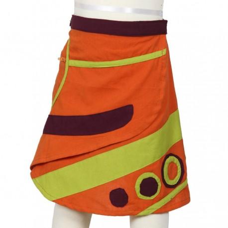 Jupe ethnique multicolore orange vert anis et prune