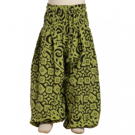 Printed indian cotton baggy trousers lemon green