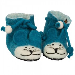Felted wool kids slippers Mouse blue