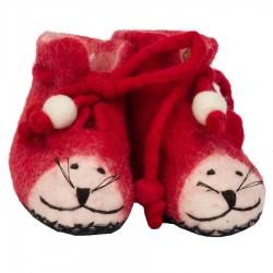 Chaussons bébé laine bouillie Souris rouge