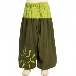 Hippy baby afghan trouser green army 12months