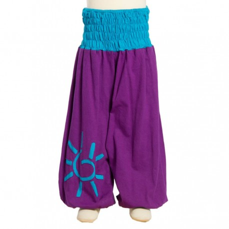 Hippy girl afghan trousers purple 4years