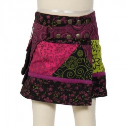 Hippy girl skirt evolutionary violet embroidered butterfly