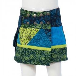 Falda hippie chica evolutiva azul bordada flora