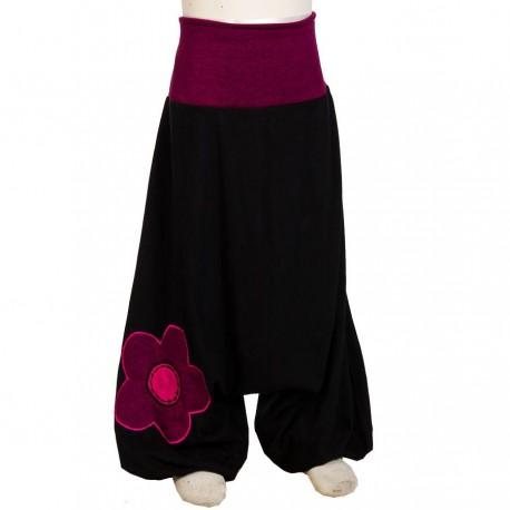 Sarouel fille noir ethnique fleur     6mois
