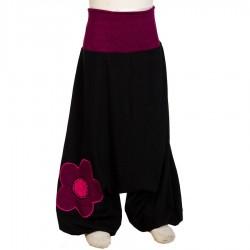Sarouel fille noir ethnique fleur     3ans