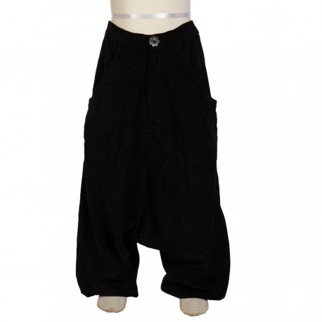 Pantalon afgano etnico invierno terciopelo espeso negro    3 ano