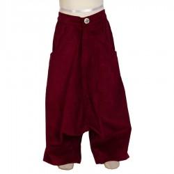 Sarouel ethnique épais velours rouge     12mois