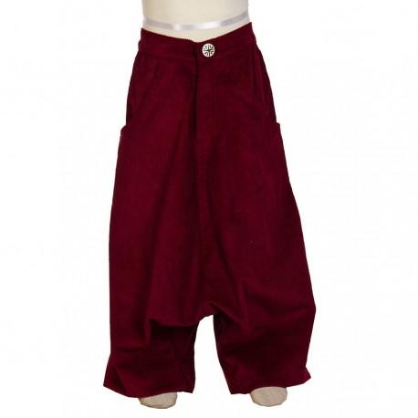 Pantalon afgano etnico invierno terciopelo espeso rojo 14anos