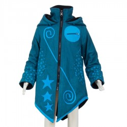 Ethnic girl coat sharp hood petrol blue